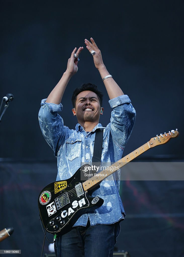 Dougy Mandagi of The Temper Trap performs on stage as the opening act for Cold Play at Etihad Stadium on November 13 2012 in Melbourne Australia