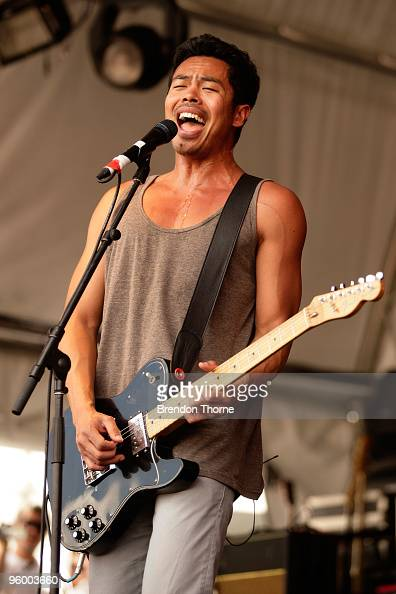 Dougy Mandagi of The Temper Trap performs on stage on the second day of the 2day Sydney leg of the Big Day Out music festival at Sydney Showground on...