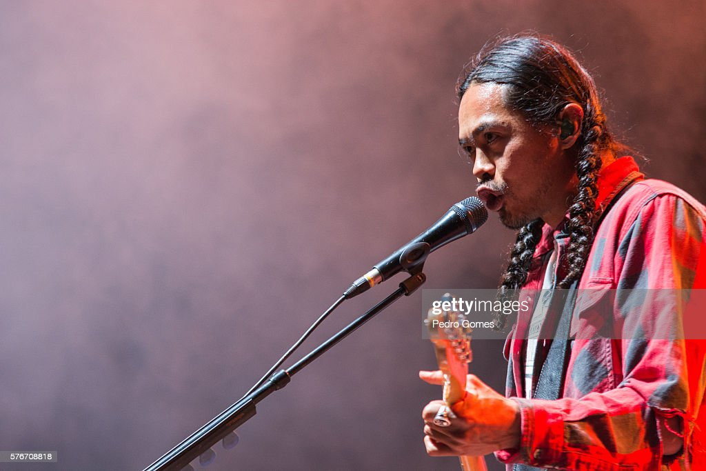 Dougy Mandagi of The Temper Trap performs on the main stage at Super Bock Super Rock festival on July 14 2016 in Lisbon Portugal