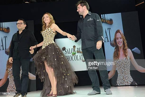 Dounia Coesens dressed by Nicolas Fafiotte and Sebastien Bouillet attend the Salon Du Chocolat 2014 Fashion Chocolate Show at Parc des Expositions...