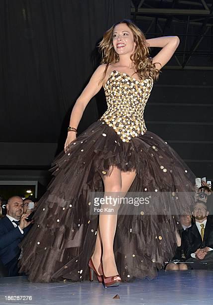 Dounia Coesens dressed by Nicolas Fafiotte Sebastien Bouillet attends the Salon Du Chocolat 2014 Fashion Chocolate Show at Parc des Expositions Porte...