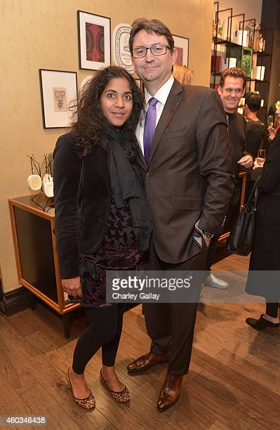 Dourene Cruau and Consul General of France Axel Cruau attend diptyque and LAxART celebrates opening of Beverly Hills Boutique at Diptyque Boutique on...