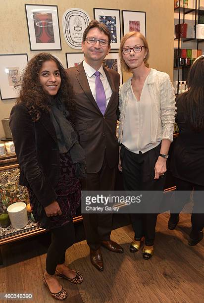 Dourene Cruau Consul General of France Axel Cruau and diptyque's Fabienne Mauny attend diptyque and LAxART celebrates opening of Beverly Hills...