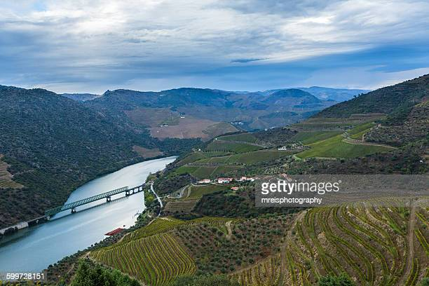 Douro river with train line
