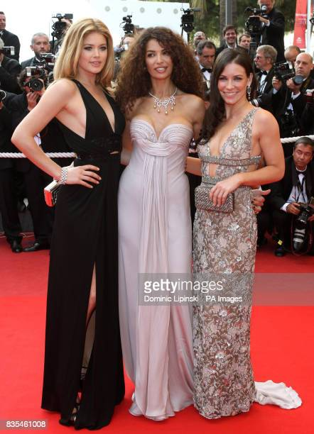 Doutzen Kroes Afef Jnifen and Evangeline Lilly arrive at the premiere of 'Vengeance' at the Palais des Festivals in Cannes France part of the 62nd...