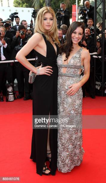 Doutzen Kroes and Evangeline Lilly arrive at the premiere of 'Vengeance' at the Palais des Festivals in Cannes France part of the 62nd annual Cannes...