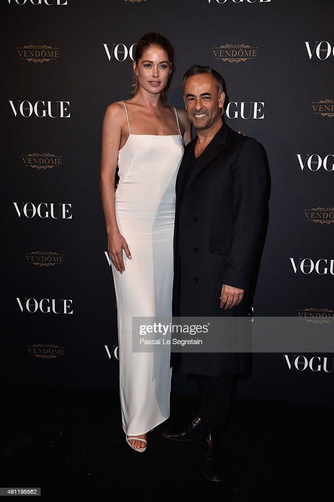 Doutzen Kroes and Francisco Costa attend the Vogue 95th Anniversary Party on October 3 2015 in Paris France