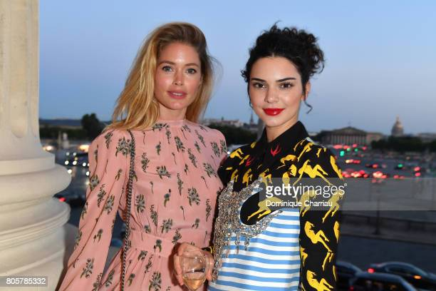 Doutzen Kroes and Kendall Jenner attend Miu Miu Cruise Collection cocktail party as part of Haute Couture Paris Fashion Week on July 2 2017 in Paris...