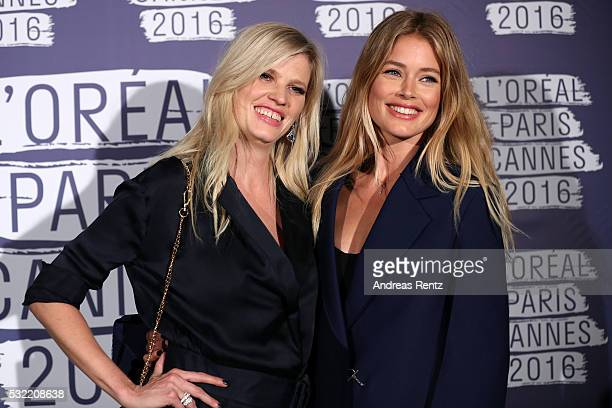 Doutzen Kroes and Lara Stone attend the L'Oreal Paris Blue Obsession Party at the annual 69th Cannes Film Festival at Hotel Martinez on May 18 2016...