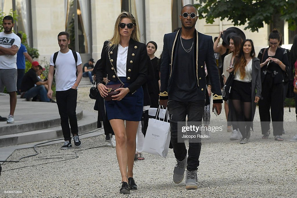 Doutzen Kroes and Sunnery James are seen leaving the Balmain Show duirng Paris Fashion Week - Menswear Spring/Summer 2017 on June 25, 2016 in Paris, France.
