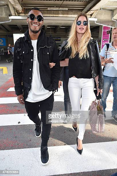 Doutzen Kroes and Sunnery James arrive at Nice Airport during the 68th annual Cannes Film Festival on May 12 2015 in Cannes France