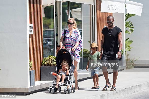 Doutzen Kroes and Sunnery James enjoy a stroll with their kids on July 24 2016 in Ibiza Spain