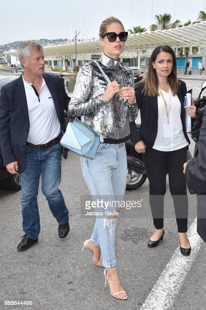Doutzen Kroes arrives at Nice airport during the 70th annual Cannes Film Festival at on May 26 2017 in Cannes France