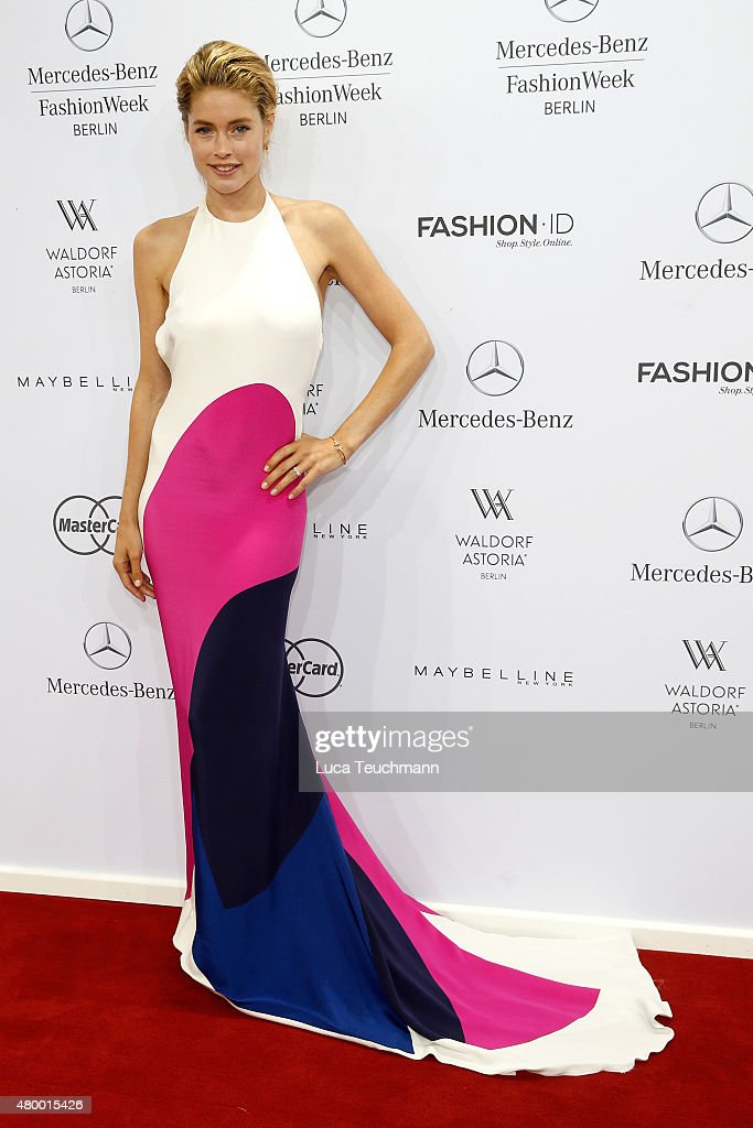 <a gi-track='captionPersonalityLinkClicked' href=/galleries/search?phrase=Doutzen+Kroes&family=editorial&specificpeople=859655 ng-click='$event.stopPropagation()'>Doutzen Kroes</a> attends the Mercedes-Benz Press Vernissage during the Mercedes-Benz Fashion Week Berlin Spring/Summer 2016 at Brandenburg Gate on July 9, 2015 in Berlin, Germany.