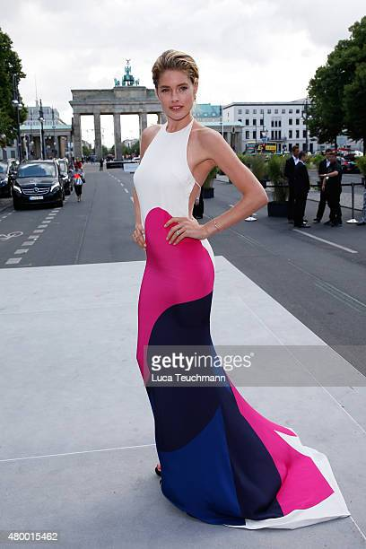 Doutzen Kroes attends the MercedesBenz Press Vernissage during the MercedesBenz Fashion Week Berlin Spring/Summer 2016 at Brandenburg Gate on July 9...
