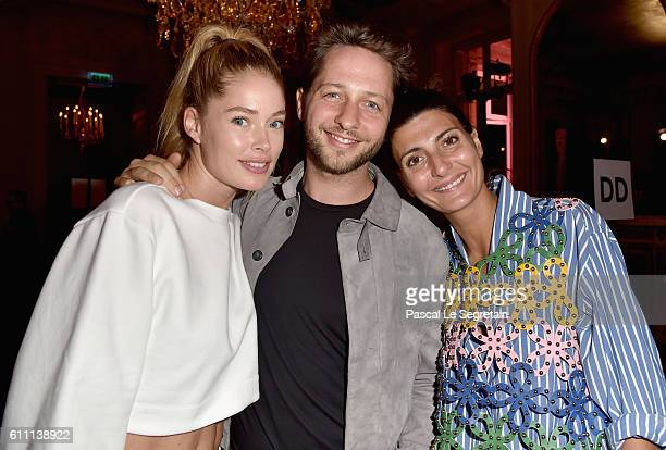 Doutzen Kroes Derek Blasberg and Giovanna Battaglia attend FENTY x PUMA by Rihanna at Hotel Salomon de Rothschild on September 28 2016 in Paris France