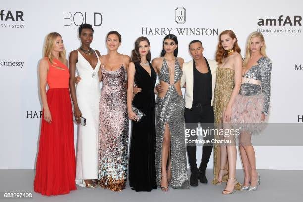 Doutzen Kroes Maria Borges Irina Shayk Bianca Balti Neelam Gill Olivier Rousteing Alexina Graham and Lara Stone arrives at the amfAR Gala Cannes 2017...