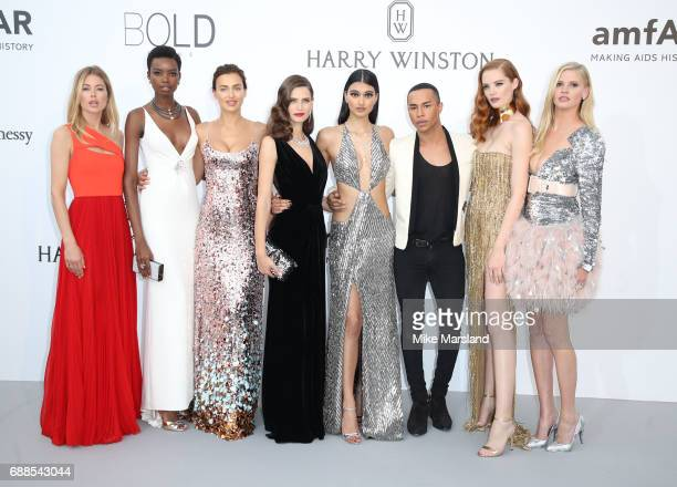 Doutzen Kroes Maria Borges Irina Shayk Bianca Balti Neelam Gill Olivier Rousteing Alexina Graham and Lara Stone arrive at the amfAR Gala Cannes 2017...