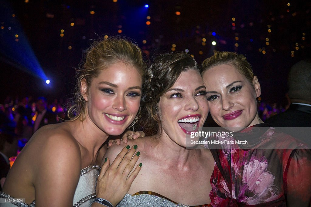 Doutzen Kroes, Mila Jovovitch and Aime Mullins, photographed at the amfAR Cinema Against AIDS gala, for Paris Match on May 24, 2012, in Cap d'Antibes, France.