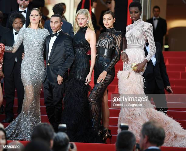 Doutzen Kroes Olivier Rousteing Lara Stone Irina Shayk and Maria Borges attends the 'The Beguiled' screening during the 70th annual Cannes Film...