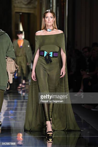 Doutzen Kroes walks the runway during the Balmain Menswear Spring/Summer 2017 show as part of Paris Fashion Week on June 25 2016 in Paris France