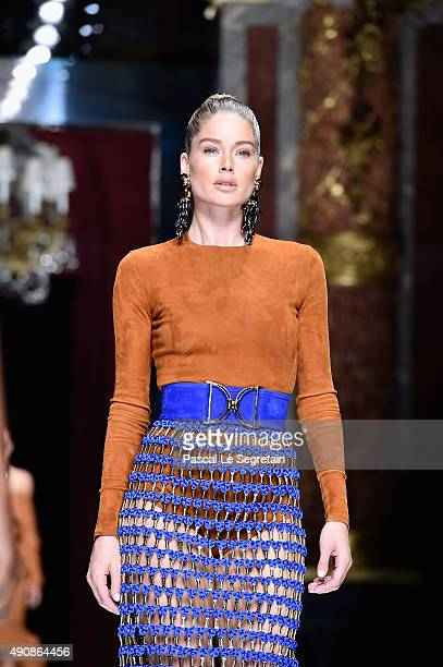 Doutzen Kroes walks the runway during the Balmain show as part of the Paris Fashion Week Womenswear Spring/Summer 2016 on October 1 2015 in Paris...