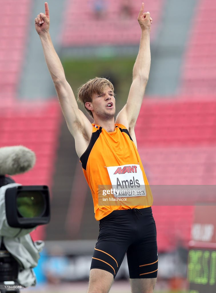 Douwe Amels of Netherlands celebrates winning the Final of The Men's High Jump during day four of The European Athletics U23 Championships 2013 on...