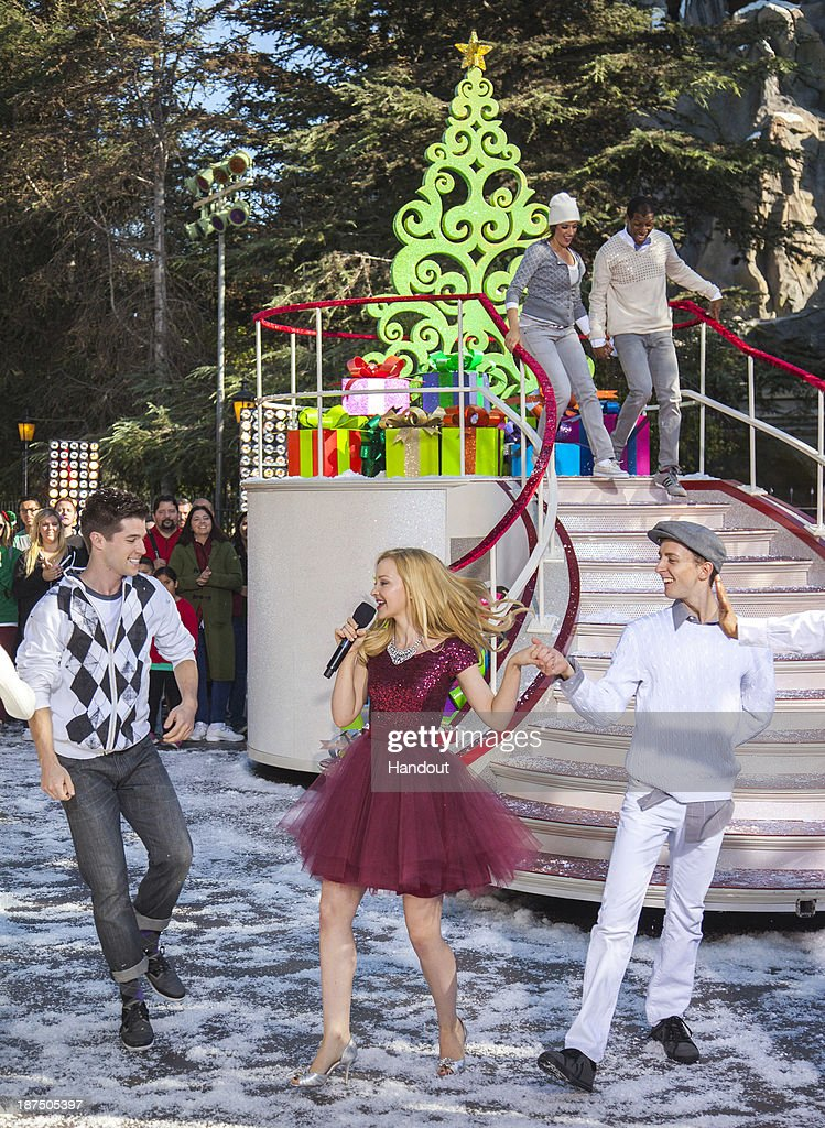 Dove Cameron from the hit Disney Channel series, 'Liv and Maddie,' performs 'Let it Snow!' during a taping for the 'Disney Parks Christmas Day Parade' television special at Disneyland on November 9, 2013 in Anahiem, California. 'Disney Parks Christmas Day Parade' airs December 25 on ABC.