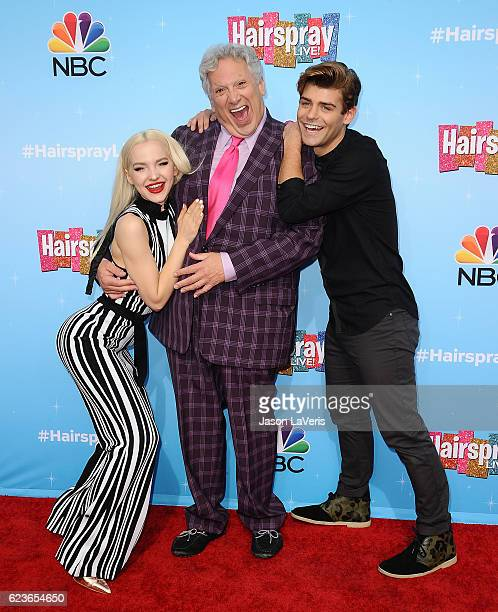 Dove Cameron Harvey Fierstein and Garrett Clayton attend the press junket for NBC's 'Hairspray Live' at NBC Universal Lot on November 16 2016 in...