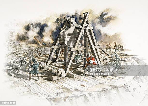 Dover Castle siege Reconstruction drawing of a trebuchet Commanding the shortest sea crossing between England and the Continent Dover Castle was a...