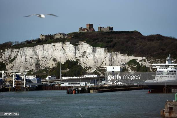 Dover Castle sits atop the White Cliffs of Dover on March 13 2017 in Dover England The White Cliffs of Dover are identified as a British Icon and as...
