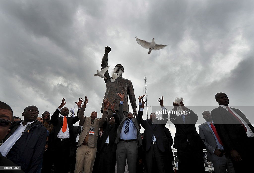 Doves are released at the unveiling of statue of Nelson Mandela at Naval Hill on December 13, 2012, in Bloemfontein, South Africa.