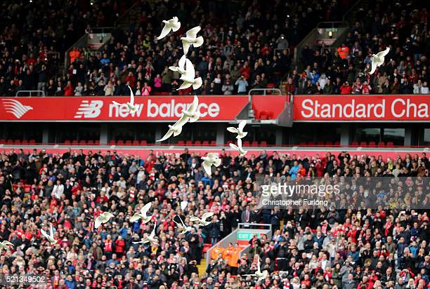 96 doves are released into the air to symbolise each of the 96 victims of the Hillsborough disaster during a memorial service at Anfield stadium on...