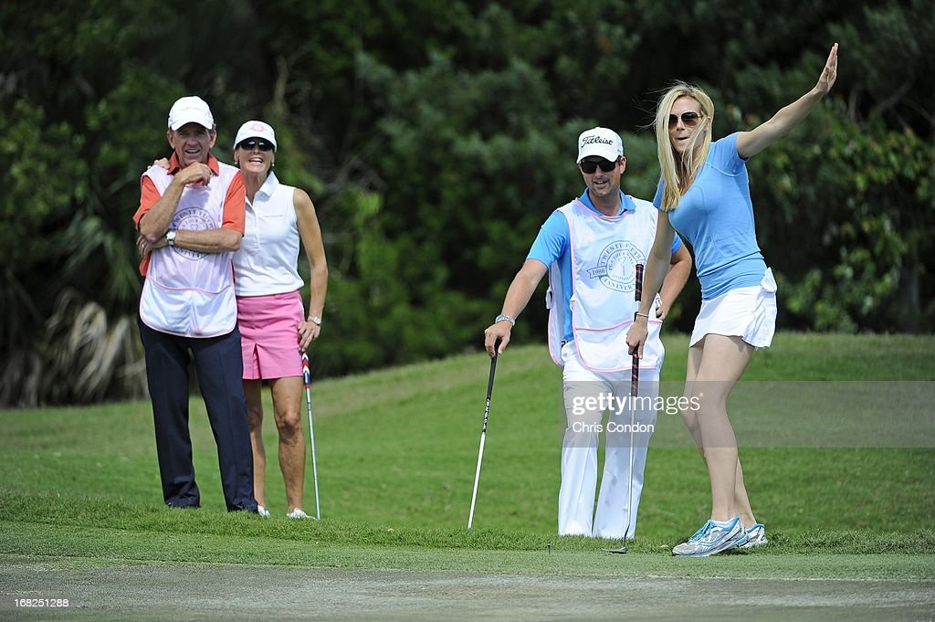 Dowd Simpson reacts after almost chipping in on the second hole during PGA TOUR Wives Classic golf tournament held on Dye's Valley course before THE PLAYERS Championship on THE PLAYERS Stadium Course at TPC Sawgrass on May 7, 2013 in Ponte Vedra Beach, Florida.