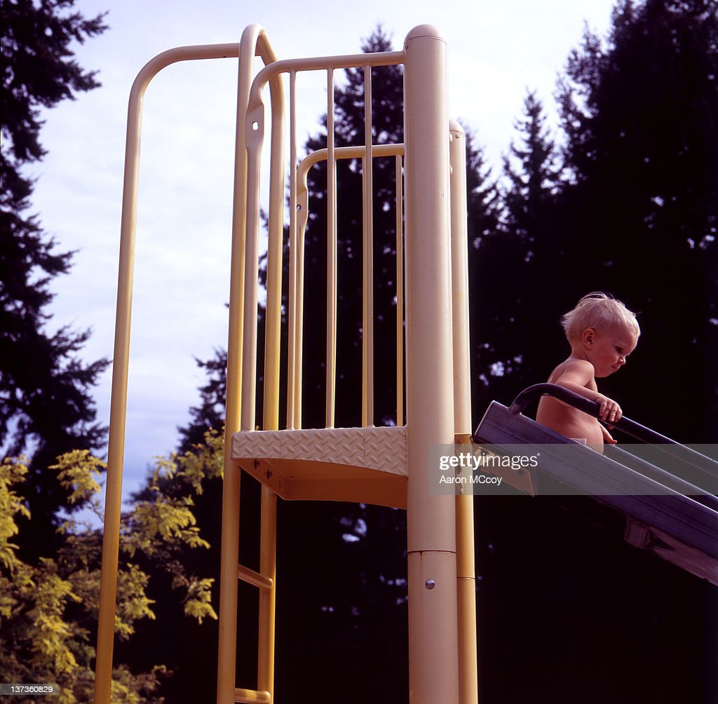 Down the slide : Stock Photo