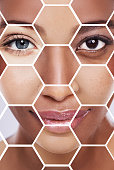 Shot of a beautiful young woman in the studio with her face displayed as a mosaic