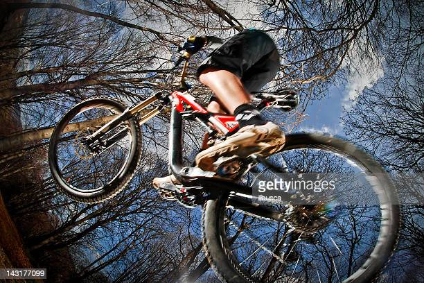 Downhill enduro mountain bike jump in the woods