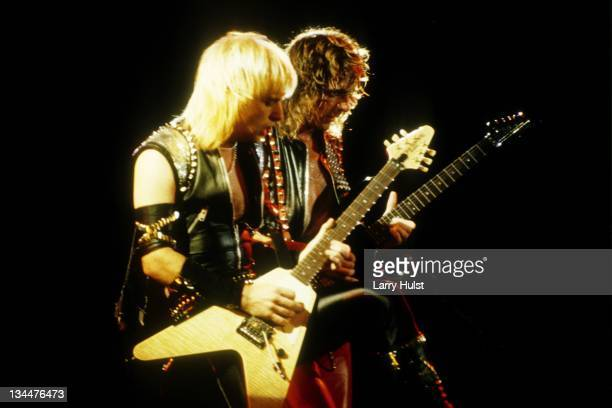 K Downing and Glenn Tipton perform with 'Judas Priest' at Cal Expo in Sacramento California on March 16 1986