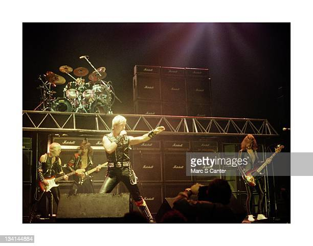 KK Downing Glenn Tipton Dave Holland Rob Halford and Ian Hill of the rock band 'Judas Priest' perform onstage at the Long Beach Arena on October 22...