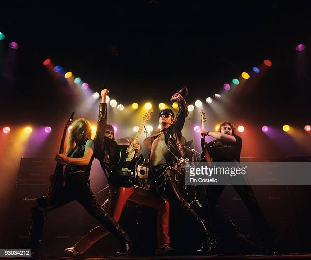 KK Downing Glenn Tipton Rob Halford and Ian Hill of Judas Priest perform on stage Unleashed In The East album cover session taken in July 1979
