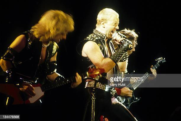 K Downing Rob Halford and Glenn Tipton perform with 'Judas Priest' at Cal Expo in Sacramento California on March 16 1986