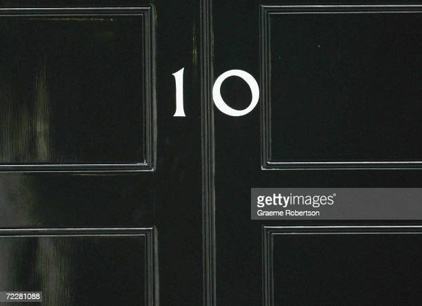 Downing Street's door is seen as Prime Minister Tony Blair leaves on January 26 2005 in London England Blair was on his way to the Commons for Prime...