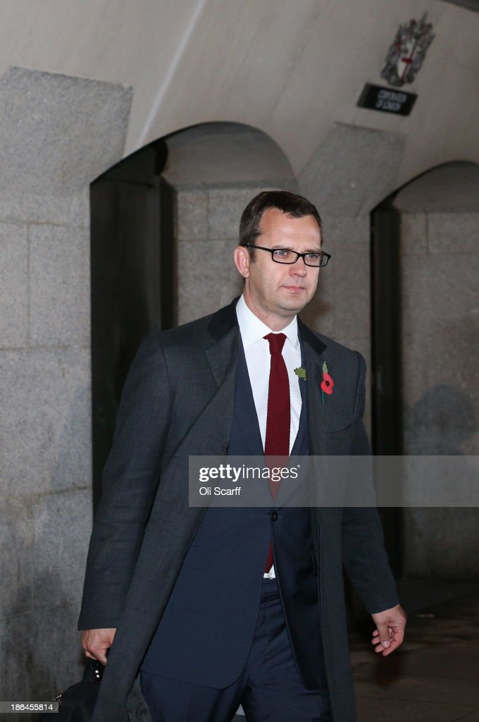 Downing Street's former director of communications and News Of The World editor <a gi-track='captionPersonalityLinkClicked' href=/galleries/search?phrase=Andy+Coulson&family=editorial&specificpeople=734849 ng-click='$event.stopPropagation()'>Andy Coulson</a> departs the Old Bailey following denying the charges against him at the phone-hacking conspiracy trial on October 31, 2013 in London, England. Downing Street's former director of communications and News Of The World editor <a gi-track='captionPersonalityLinkClicked' href=/galleries/search?phrase=Andy+Coulson&family=editorial&specificpeople=734849 ng-click='$event.stopPropagation()'>Andy Coulson</a> and the former News International chief executive Rebekah Brooks, along with six others, face a series of charges linked to phone hacking celebrities and those in the news at the now-defunct newspaper. It also emerged today that the pair had had a six year affair believed to have begun in 1998.
