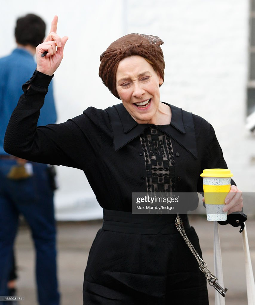 'Downton Abbey' cast member Phyllis Logan dressed in character as Mrs Hughes seen prior to the arrival of Catherine, Duchess of Cambridge for a visit to the set of 'Downton Abbey' at Ealing Studios on March 12, 2015 in London, England.