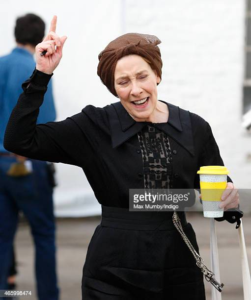 'Downton Abbey' cast member Phyllis Logan dressed in character as Mrs Hughes seen prior to the arrival of Catherine Duchess of Cambridge for a visit...