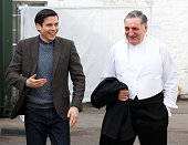 'Downton Abbey' cast members Rob JamesCollier and Jim Carter dressed in character as Mr Carson seen prior to the arrival of Catherine Duchess of...
