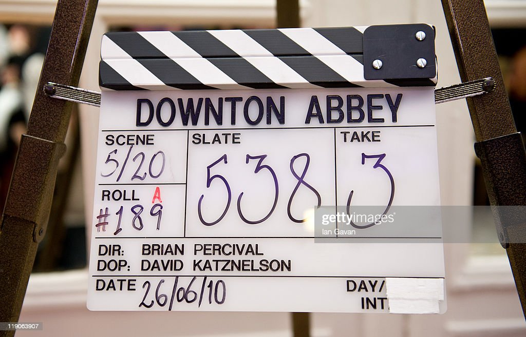 A Downton Abbey clapper board awaits auction during 'An Evening With Downton Abbey - Raising Money For Merlin - The Medical Relief Charity' at The Savoy Hotel on July 14, 2011 in London, United Kingdom.