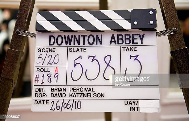 A Downton Abbey clapper board awaits auction during 'An Evening With Downton Abbey Raising Money For Merlin The Medical Relief Charity' at The Savoy...