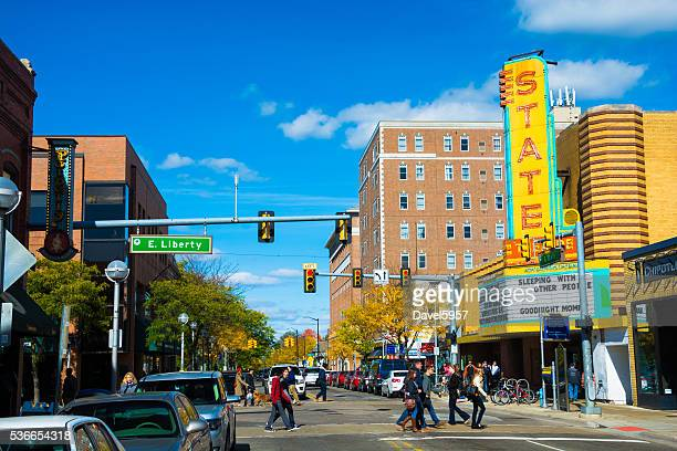 Downtown Ann Arbor with the State Theater and pedestrians