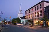 Downtown Antigonish at dusk, Nova Scotia